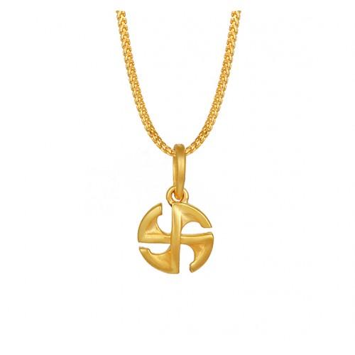 तनिष्क् सुवर्ण आभरणम् [Tanishq 22KT Yellow Gold Pendant with Swastik Design]